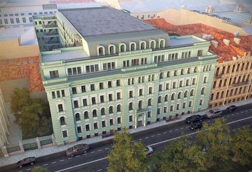 Конногвардейский бульвар, дом 5. Проект гостиницы «Дом Монферран» с высоты птичьего полета.