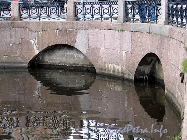 Заключенные в трубу и засыпанные Крюков (слева) и Адмиралтейский (справа) каналы. Вид со стороны Крюкова канала. Фото август 2011 г.