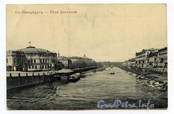 Река Фонтанка на участке от Симеоновского моста в сторону Пантелеймоновского моста. Фото начала XX века. (Старая открытка)