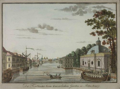 Река Фонтанка около Летнего сада. Акварель 1792 года.
