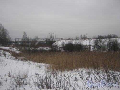 Муринский ручей. Общий вид на русло ручья с ул. Руставели (вид в сторону ж/д). Фото 30 января 2013 г.
