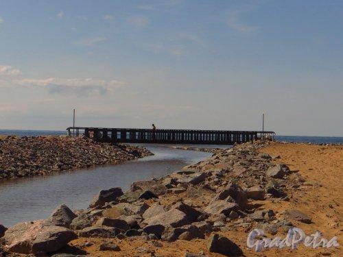 Река Малая Сестра. Новый пешеходный мост в устье реки. Фото 4 июля 2013 г.