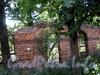 Фрагмент кирпичной ограды Ларинской гимназии между домами 22 и 28 по 5-ой линии В.О. Фото август 2009 г.