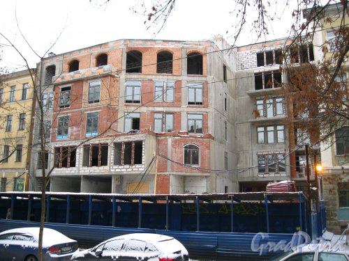 11-я линия В.О., дом 26. Строительство жилого дома. Общий вид стройки. Фото 3 февраля 2013 г.