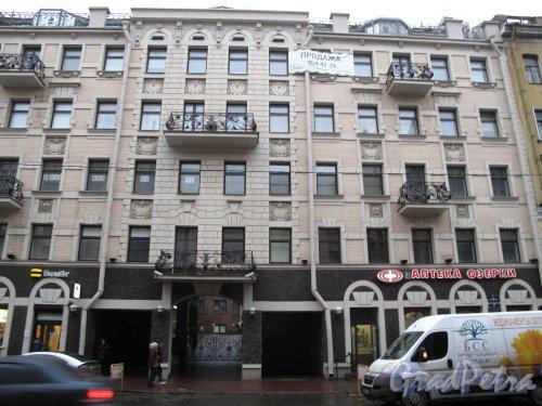 8-я линия В.О., д. 37. 5-этажный жилой дом с магазинами. Перестроен с соблюдением стилистики модерна. 2010-е