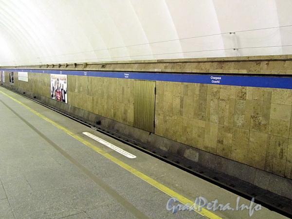Станция метро «Озерки». Путевая стена. Фото декабрь 2011 г.