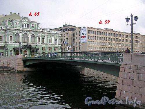 Лештуков мост. Вид на дома 65-59 по наб. р. Фонтанки