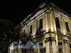 Университетская наб., д. 15. Правое крыло. Ночная подсветка здания. Фрагмент фасада. Фото январь 2011 г.