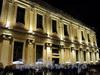 Университетская наб., д. 15. Правое крыло. Ночная подсветка фасада здания. Фото январь 2011 г.