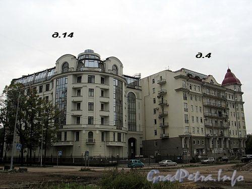 Дом 14 по Кемской улице и дом 4 по набережной Мартынова. Вид со стороны Прожекторной улицы. Фото сентябрь 2010 г.