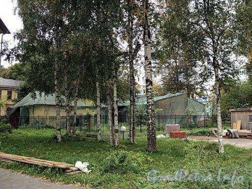 Строения на участке дома 33 А по набережной Малой Невки. Вид от Санаторной аллеи. Фото сентябрь 2010 г.
