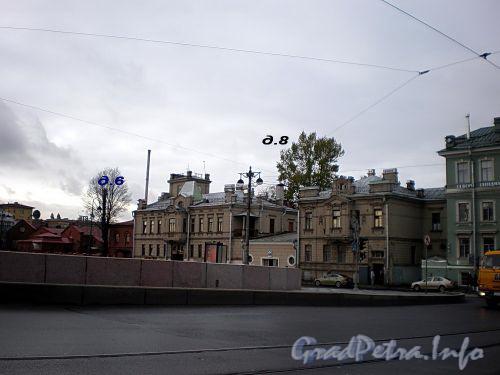 Петроградская наб., д. 8. Особняки (левый и средний корпус) Н.Ф.Крупенникова. Вид с Сампсониевского моста. Фото октябрь 2008 г.