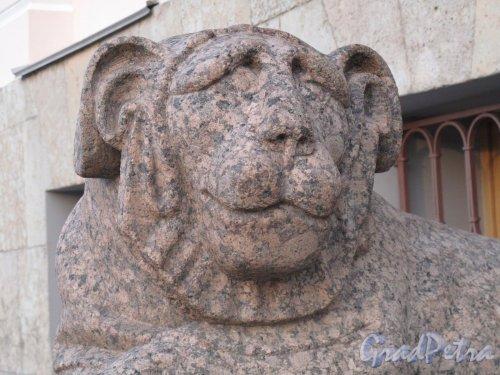 Английская наб., д. 4. Гранитные львы.  Фрагмент. Фото июль 2012 г.