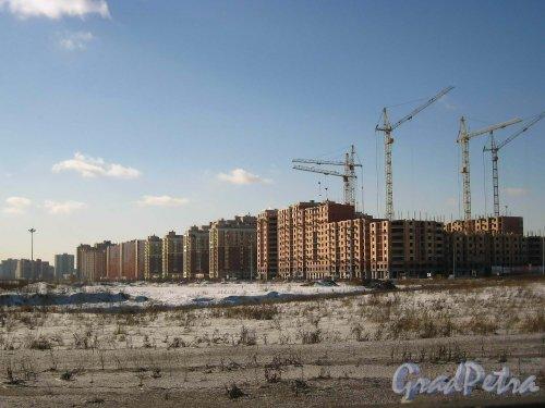 Строительство корпусов жилого комплекса «Новый Оккервиль» вдоль Ленинградской улицы. Вид с КАД. Фото 22 марта 2013 года.