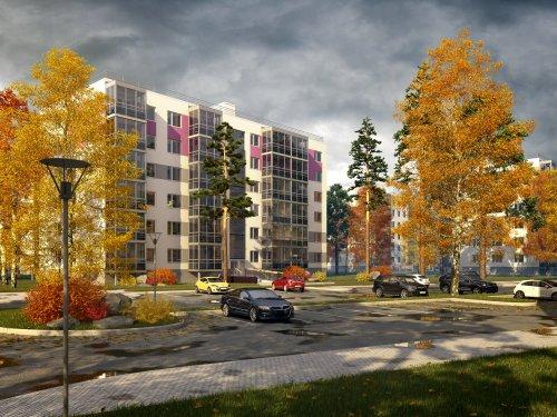 Жилой комплекс «Gröna Lund». Проект жилого комплекса. Осенний вид.