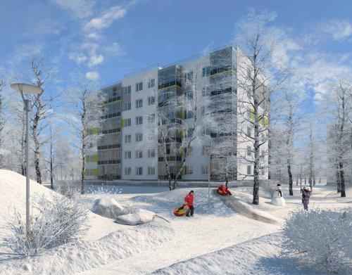 Жилой комплекс «Gröna Lund». Проект жилого комплекса. Зимний вид.