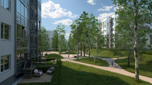 Жилой комплекс «Gröna Lund». Проект жилого комплекса. Один из участков жилого комплекса.