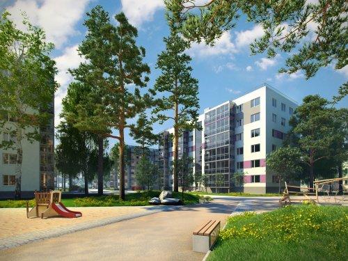 Жилой комплекс «Gröna Lund». Проект жилого комплекса. Вид весной.