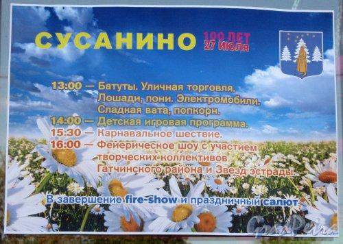Лен. обл., Гатчинский р-н, пос. Сусанино. Информация о празднике в честь дня посёлка. Фото 27 июля 2013 г.