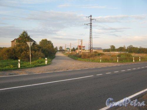 Лен. обл., Гатчинский р-н, деревня Пустошка. Въезд с шоссе А-120. Фото 31 августа 2013 г.