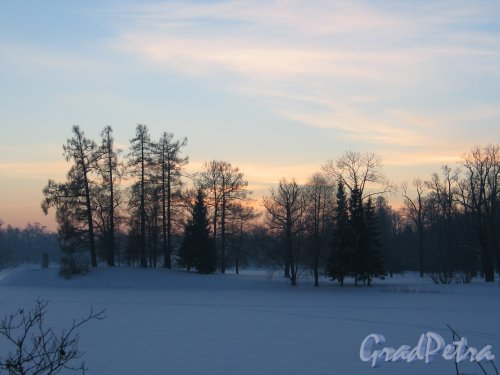 Екатерининский парк морозным зимним вечером. Фото январь 213 г.