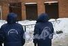 Климов пер., 8. СотрудникижКС-1 Адмиралтейского р-на, контролировавшие уборку снега, в результате которой пострадал балкон. 16 декабря 2010 года.