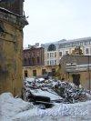 Иностранный пер., дом 6 / наб. Лейтенанта Шмидта, дом 21. Вид со стороны набережной Лейтенанта Шмидта. Фото 31 января 2013 года.
