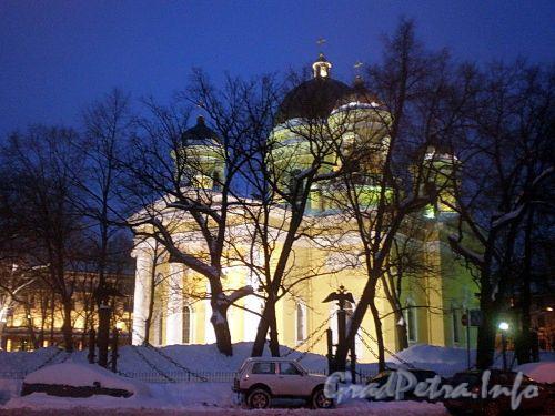 Преображенская пл., д. 1. Ночная подсветка Спасо-Преображенского собора. Фото февраль 2010 г.