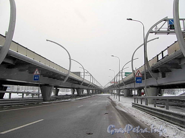 Западный Скоростной Диаметр. Съезд на Краснопутиловскую улицу. Фото 2012 г.