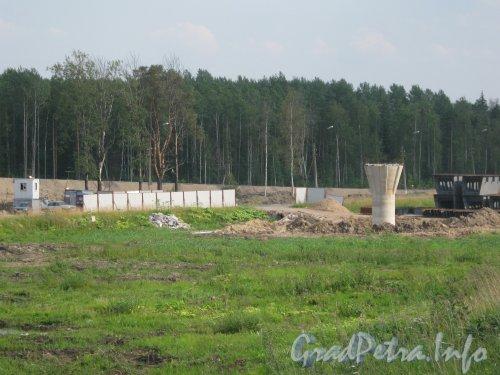 Строительство развязки Западного Скоростного Диаметра с федеральной трассой Е-18 «Скандинавия». Фото 30 июля 2012 г.