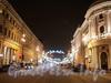 Невский проспект. Перспектива от Большой Морской улицы в сторону реки Мойки. Новогоднее оформление. Фото январь 2011 г.