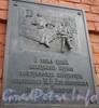 Каменноостровский пр., д. 11. Памятная доска на фасаде здания. Ноябрь 2008 г. (Император Петр I (1672-1725), Ломоносов М.В. (1711-1765). В Москву из Холмогор М.В. Ломоносов  прибыл только в январе 1731 года.