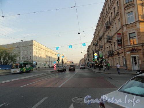 Перспектива Лиговского проспекта от переулка Ульяны Громовой в сторону площади Восстания.