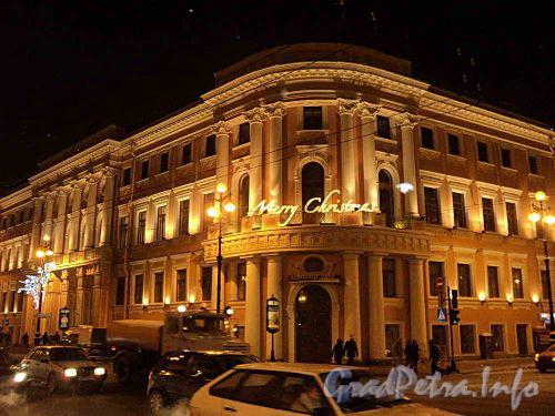 Невский пр., д. 15 / Бол. Морская ул., дом 14. Ночная подсветка фасада. Фото январь 2011 г.