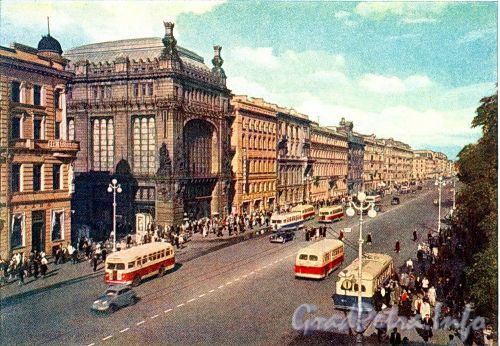 Перспектива четной стороны Невского проспекта от Малой Садовой улицы в сторону Фонтанки. Фото И. Б. Голанд, 1959 г. (набор открыток)