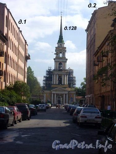 Лиговский пр. д.128. Колокольня Крестовоздвиженской церкви. Вид от улицы Тюшина. Фото 2004 г.