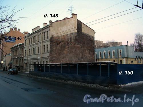 Лиговский пр. д.д. 146-150, строительная площадка после сноса старого дома по адресу Лиговский пр. д. 150. Фото 2005 года.