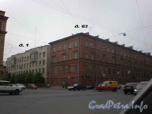 Суворовский пр., д. 63 (левый корпус) / Тульская ул., д. 1. Вид от Суворовского проспекта. Фото 2008 г.