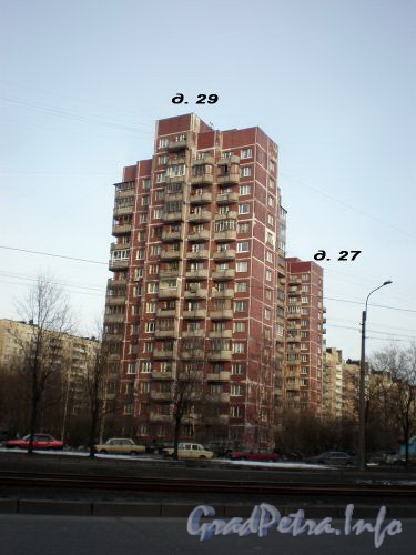 Дома 29 и 27 по Тихорецкому проспекту Вид от парка Сосновка. Апрель 2009 г.