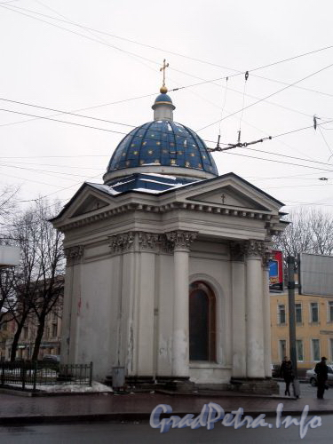 Часовня Троицкого собора в честь чудесного спасения Александра III и царской семьи в ж/д катастрофе в Борках. Фото февраль 2009 г.