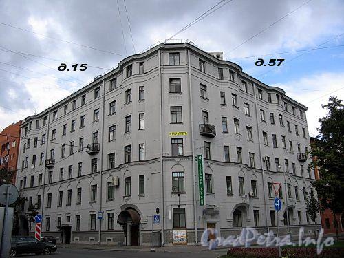 Большой пр., В.О., д. 57 / 16-я линия В.О., д. 15. Доходный дом Л. Н. Бенуа. Общий вид здания. Фото август 2009 г.