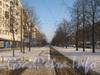 Трамвайная однопутка по пр. Ветеранов вдоль дома 143, корп. 1. Перспектива в сторону ул. Пограничника Гарькавого. Фото январь 2012 г.