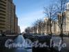 Перспектива пешеходной части нечётной стороны Ленинского пр. от дома 77 корпус 2 (слева) в сторону пр. Кузнецова. Фото март 2012 г.