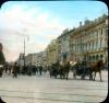 Участок четной стороны Невского проспекта от Садовой улицы в сторону Михайловской улицы. Раскрашенная Фотография Брэнсона Деку. Фото 1931 год.