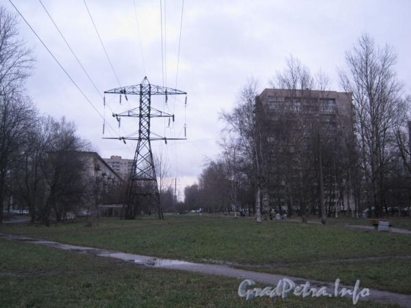 Дом 2, корп. 5 по проспекту Славы (справа) и дом 28 корп. 6 по Белградской улице (слева). Вид от высоковольтной линии между Белградской и Будапештской улицами. Фото декабрь 2011 г.