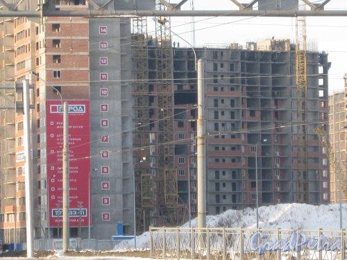 Строительство ЖК «Ленинский Парк». Общий вид со стороны ул. Доблести. Фото 28 января 2013 г.