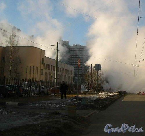 Прорыв трубы с горячей водой на территории Детской школы искусств им. Г.В. Свиридова