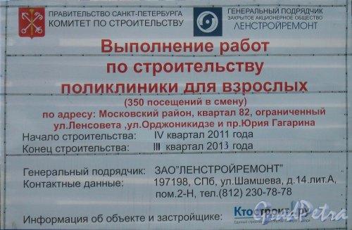 Паспорт строительства поликлиники для взрослых по адресу: Московский район, квартал 82, ограниченный ул. Ленсовета, ул. Орджоникидзе и пр. Юрия Гагарина. Фото 22 марта 2013 года.