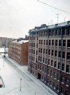 Большой Сампсониевский пр., дом 4-6. Общий вид жилых домов, стоявших на месте жилого комплекса «Монблан» со стороны двора. Фото апрель 1976 г.