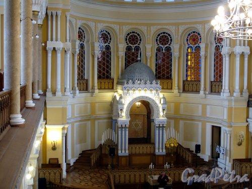 Лермонтовский пр., д. 2. Большая хоральная синагога. Большой молельный зал. Общий вид. Фото апрель 2013 г.